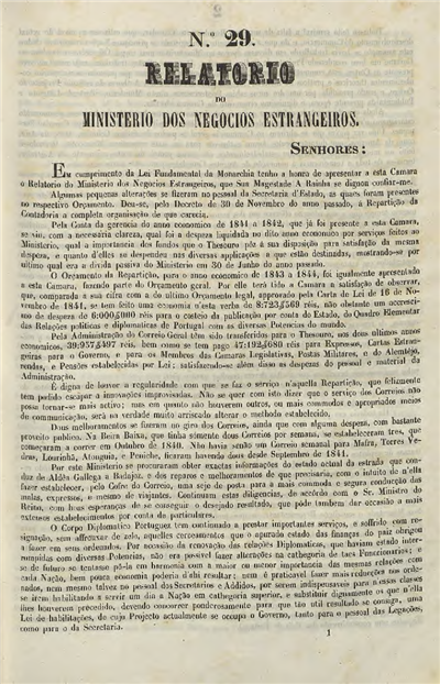 Relatorio do Ministerio dos Negocios Estrangeiros : nº 29 (30 de Janeiro de 1843) / Ministerio dos Negocios Estrangeiros; José Joaquim Gomes de Castro