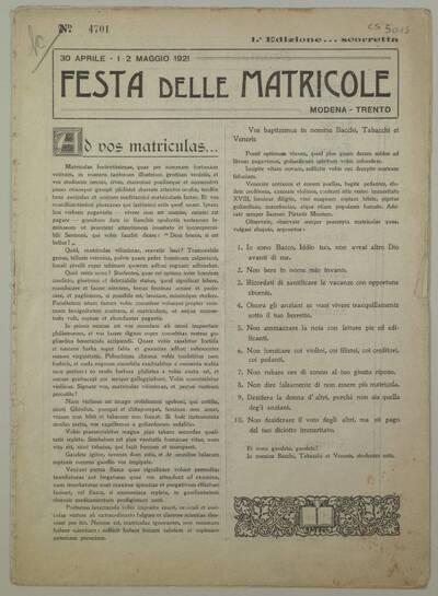 Festa delle matricole : Modena-Trento