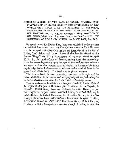 Notice of a Bond by the Earl of Irvine and other Officers of the Scots Guard of the French King (Louis XIV.), for Expenses of the Corps, &c., Volume 3, 220-5