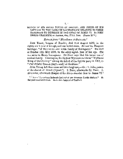 Notice of Sir Peter Young of Seaton; and copies of his Letters to the Laird of Barnbarroch relative to their Embassies to Denmark, in the reign of James VI., Volume 4, 420-7