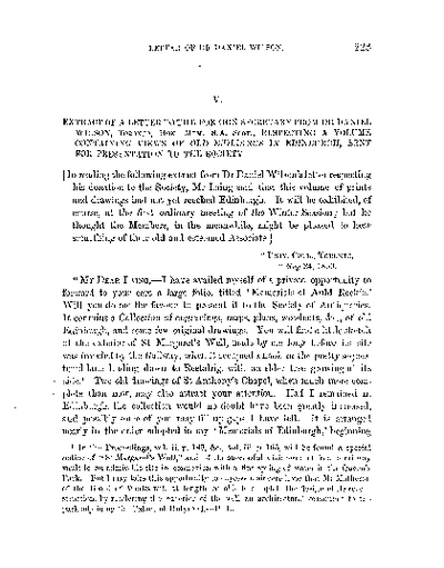 Letter to the Foreign Secretary from Dr Daniel Wilson, Toronto, Hon.Mem. S.A. Scot., respecting a volume containing Views of Old Buildings in Edinburgh and its neighbourhood., Volume 8, 223-4