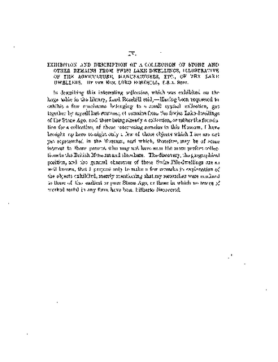 Exhibition and Description of a Collection of Stone and other Remains from Swiss Lake Dwellings, illustrative of the Agriculture, Manufactures, &c., of the Lake Dwellers., Volume 8, 333-9