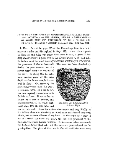 Notes of an Urn Found at Kennyshillock, Urquhart, Elgin, now presented to the Museum, and on a Bullet-Mould of Stone, Lent for Exhibition by Mr J MacDonald, Dunphail., Volume 14, 109-10