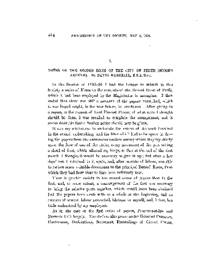 Notes on the Record Room of the City of Perth.  (Second Article)., Volume 33, 414-40