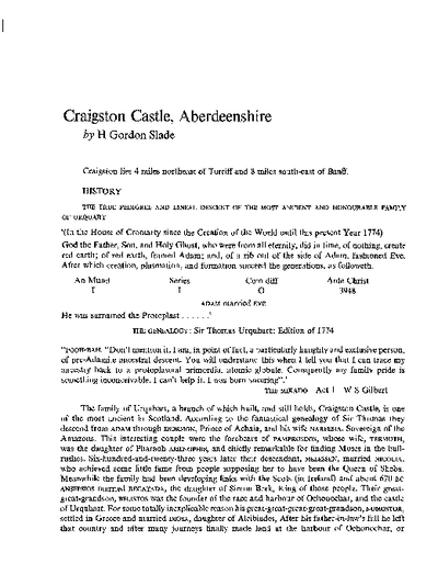Craigston Castle, Aberdeenshire, Volume 108, 262-99