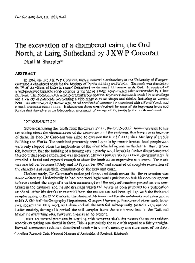 The excavation of a chambered cairn, the Ord North, at Lairg, Sutherland by J X W P Corcoran, Volume 111, 21-62