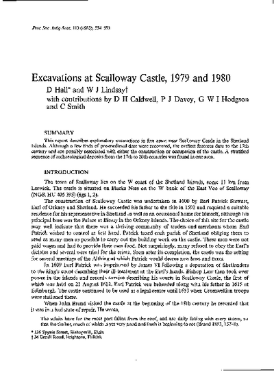 Excavations at Scalloway Castle, 1979 and 1980 [post-med material around castle], Volume 113, 554-93