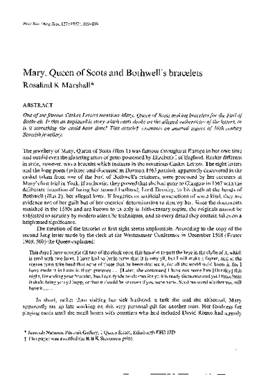 Mary Queen of Scots and Bothwell's bracelets., Volume 127, 889-98