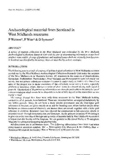 Archaeological material in Scotland from West Midlands Museums., Volume 127, 957-62