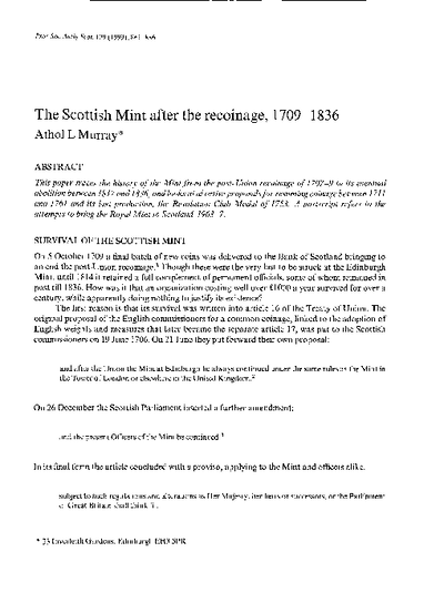 The Scottish Mint after the recoinage, 1709-1836., Volume 129, 861-86