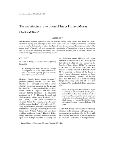 The architectural evolution of Innes House, Moray, Volume 133, 315-342