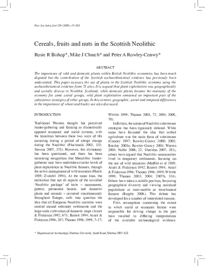 Cereals, fruits and nuts in the Scottish Neolithic, Volume 139, 047-103