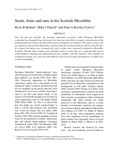 Seeds, fruits and nuts in the Scottish Mesolithic, Volume 143, Sep-72
