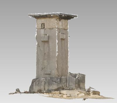 3d model of a harpie  in the archaeological site of Xanthos