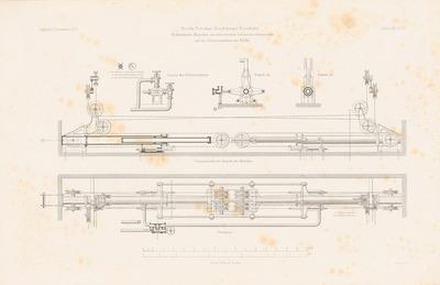 Lokomotivverschiebebühne auf dem Bahnhof der Berlin-Potsdam-Magdeburger Eisenbahn, Berlin. (Aus: Atlas zur Zeitschrift für Bauwesen, hrsg. v. G. Erbkam, Jg. 25, 1875.)