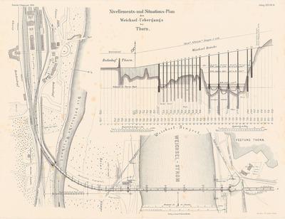 Thorn-Insterburger Eisenbahn. Weichselbrücke bei Thorn. (Aus: Atlas zur Zeitschrift für Bauwesen, hrsg. v. F. Endell, Jg. 26, 1876.)