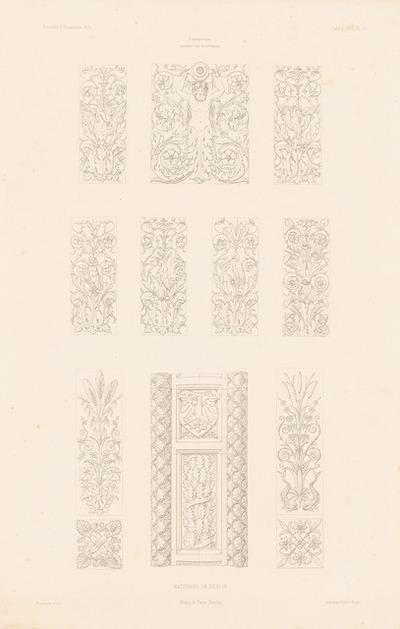 Terrakotten vom Berliner Rathaus (Rotes Rathaus), Berlin. (Aus: Atlas zur Zeitschrift für Bauwesen, hrsg. v. F. Endell, Jg. 26, 1876.)