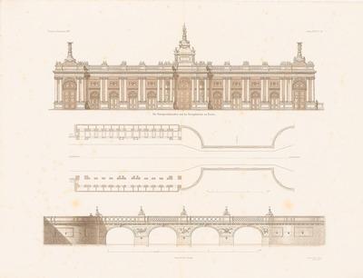 Königskolonnaden und Königsbrücke in Berlin. (Aus: Atlas zur Zeitschrift für Bauwesen, hrsg. v. F. Endell, Jg. 26, 1876.)