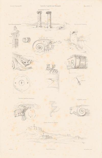 Ionische Kapitelle aus Kleinasien. (Aus: Atlas zur Zeitschrift für Bauwesen, hrsg. v. F. Endell, Jg. 26, 1876.)