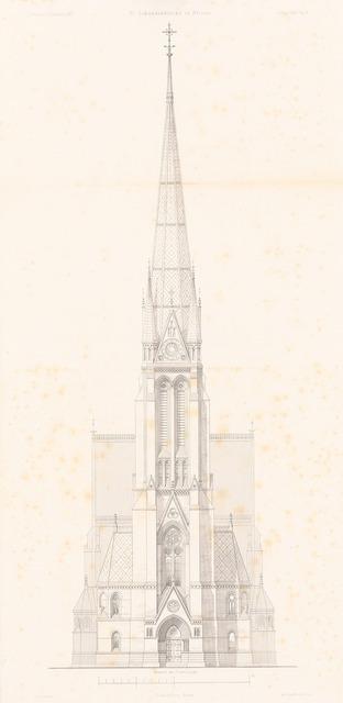 St. Johanniskirche, Hamburg-Altona. (Aus: Atlas zur Zeitschrift für Bauwesen, hrsg. v. F. Endell, Jg. 27, 1877.)