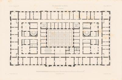 Hotel Kaiserhof Berlin. (Aus: Atlas zur Zeitschrift für Bauwesen, hrsg. v. F. Endell, Jg. 27, 1877.)