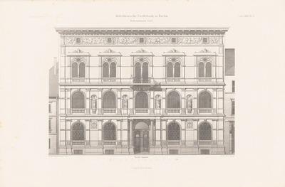 Mitteldeutsche Kreditbank, Berlin. (Aus: Atlas zur Zeitschrift für Bauwesen, hrsg. v. F. Endell, Jg. 27, 1877.)