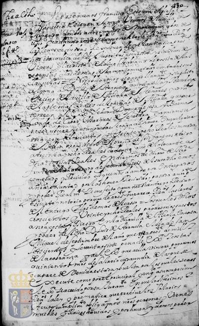 Obligación de pago a Luís de Aranda Quintanilla y Mendoza