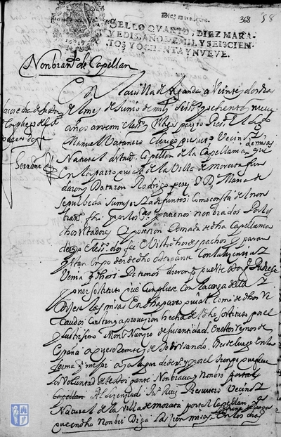 Nombramiento de Juan Ruiz como capellán para que diga cien misas en los días señalados por la capellanía fundada por Rodrigo Pérez y María de Sepúlveda en la parroquia de Morata de Tajuña