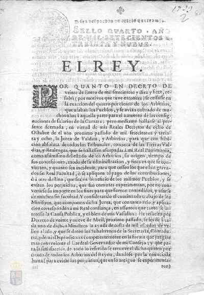 Cédula real de Felipe V por la que cada uno de los ministros del rey recibirá 1000 escudos más al año, renovándose para ello el impuesto del cuatro por ciento