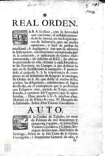 Orden real de Fernando VI para reclutar a todos los maleantes de la provincia para el cuerpo de infantería de Aragón