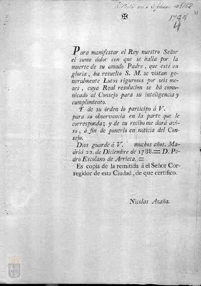 Orden real de Carlos IV para que se guarden cuatro meses de luto por la muerte de su padre Carlos III