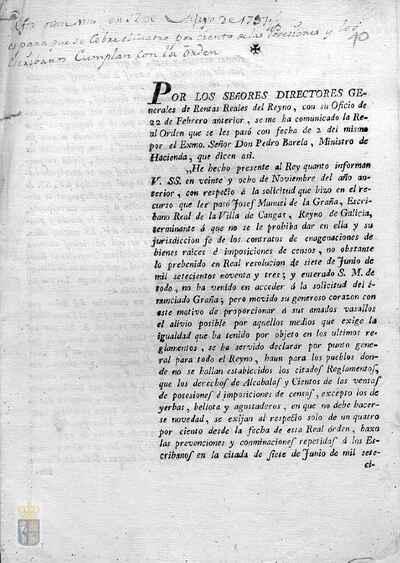 Orden real de Carlos IV para que de los derechos de alcabalas y cientos en las ventas de posesiones se exija un cuatro por ciento