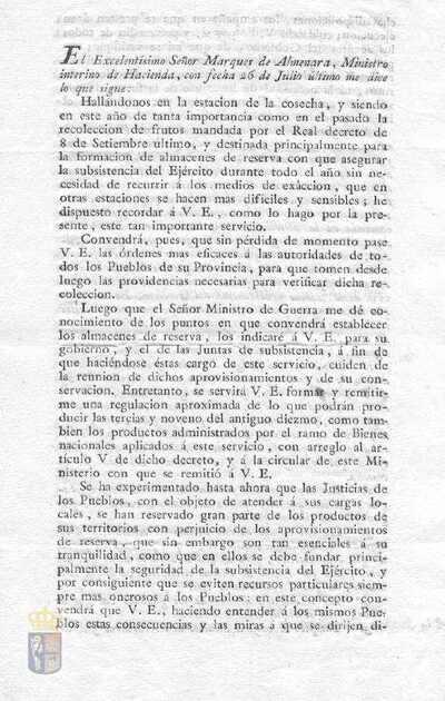 Comunicación de Pedro de Mora y Lomas, prefecto de la provincia de Madrid, de la orden del Marqués de Almenara, ministro de hacienda, para el cobro del segundo diezmo de los productos de cosecha y otros