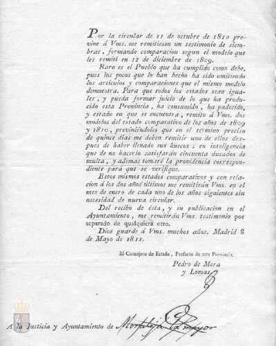 Orden de Pedro de Mora y Lomas, prefecto de la provincia de Madrid, a la villa de Arganda para que se informe del estado de la siembra conforme a los impresos que se adjuntan