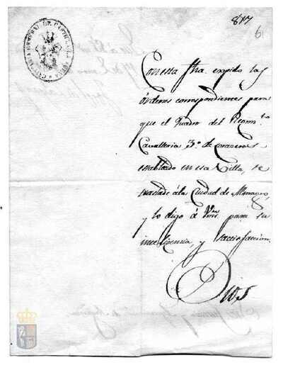 Orden de José de Zayas para que el regimiento de caballería nº 3 de coraceros establecido en esta villa se dirija a Almagro