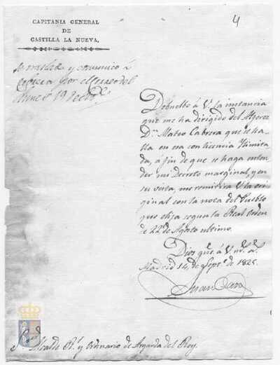 Comunicación al alcalde de la villa para que envíe el original de la instancia remitida por Mateo Cabrera