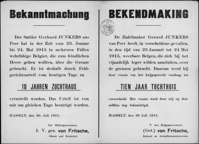 Hasselt, affiche van 20 juli 1915 - veroordeling inwoner Peer.