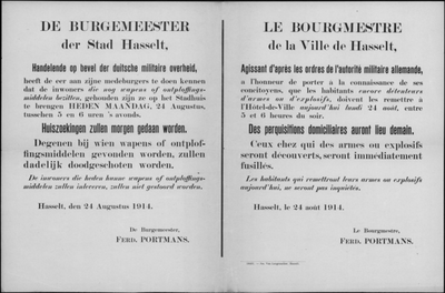 Stad Hasselt, affiche van 24 augustus 1914 - inleveren wapens of springstoffen.