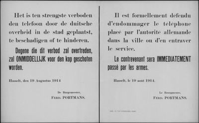 Stad Hasselt, affiche van 19 augustus 1914 - telefoonverbindingen.
