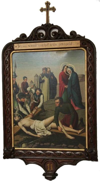 Satie 11: Jesus wordt aan het kruis genageld.