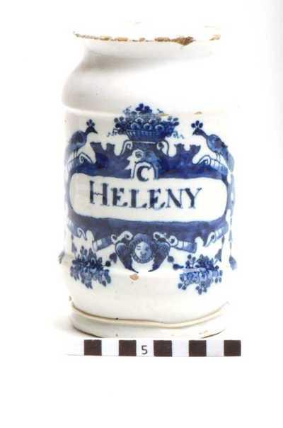 Delfts blauwe apothekerspot; C HELENY