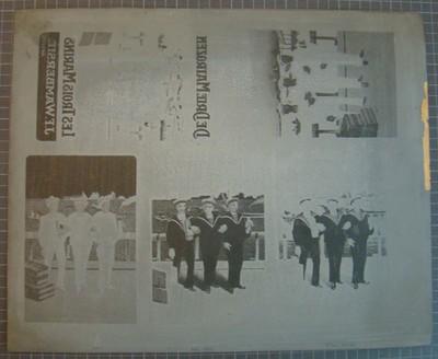 Drukplaat voor litho buiketiket 'De Drie Matrozen, Les Trois Marins, J. F. Wambersie, Anvers'