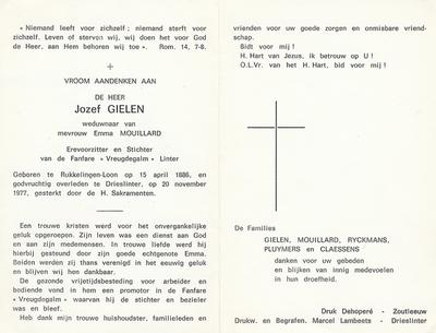 Doodsprent van Gielen, Arnold Joseph