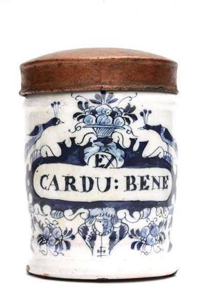 Delfts blauwe apothekerspot; EX CARDU: BENE - (...)TALC: VENET: