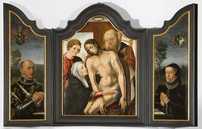 Triptiek met de kruisafneming en schenkersportretten van Jan van den Tymple en zijn vrouw