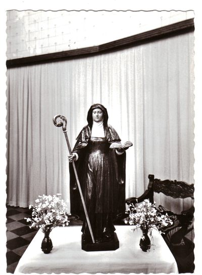 Neerlanden, Kerk - houten beeld St Aldegondis