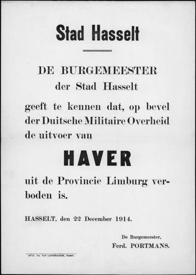 Stad Hasselt, affiche van 22 december 1914 - vervoer van haver.