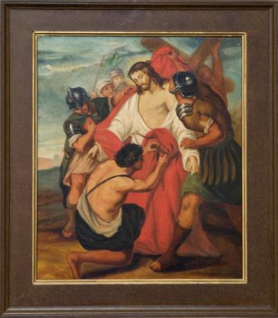 Schilderij kruisweg tiende statie
