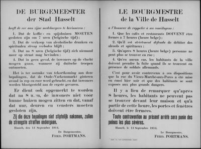 Stad Hasselt, affiche van 13 september 1914 - sluitingsuur cafés en restaurants.