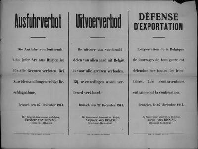 Brussel, affiche van 27 december 1914 - verbod op uitvoer voedingsmiddelen.